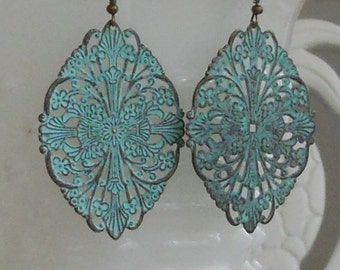 SALE--Turquoise Patina Dangle Earrings