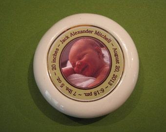 Custom Photo Birth Announcement Porcelain Paperweight Keepsake Baby Room Decor