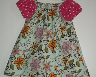 Retro Floral and Polka Dots Blue and Pink Girls Dress Size 6-12months Hand Made  Ready To Ship  Spring Summer and Party Dress