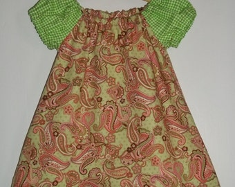 Retro Paisley and Gingham Pink and Green Girls Dress Size 6-12months Hand Made  Ready To Ship  Spring Summer and Party Dress