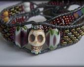 Edgy Bohemian Skull Mosaic Beaded Leather Double Wrap Bracelet Howlite Agate Hematite