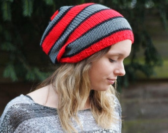 """Knitted, Oversized Slouchy Beanie,   Red Black Grey 22"""" - 24"""""""