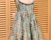 Shirred Sash Dress in Aqua and Brown