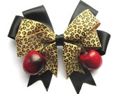 Black, Leopard and Cherry hair bow with realistic lifelike juicy cherries by Dolly Cool