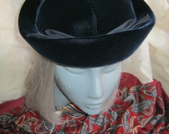 Vintage Dark blue black velvet  hat cap, sailor style high brim hat, deepest inky blue velvet hat,  Betmar Halle Bros. Co.
