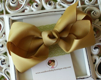 NEW----Boutique Large Hair Bow Clip-----Gold----