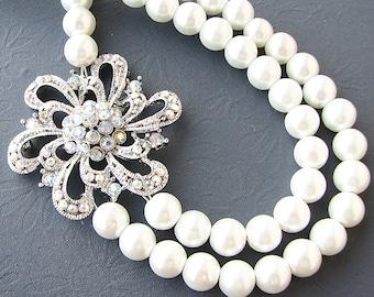 Bridal Jewelry Pearl Necklace Wedding Jewelry Crystal Wedding Necklace Flower Necklace Bridesmaid Gift
