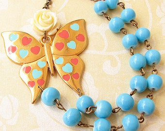 Statement Necklace Butterfly Jewelry Butterfly Necklace Turquoise Jewelry Bib Necklace Gift For Her