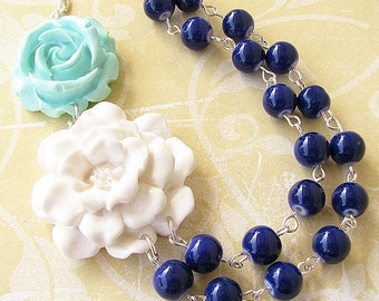Statement Necklace Navy Blue Jewelry Flower Necklace Bridesmaid Jewelry White Necklace Beaded Necklace Multi Strand Gift For Her