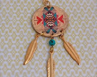 "Dream Catcher Necklace with Feathers Original Artwork by Alyson Fox ""Kaleidoscope"""