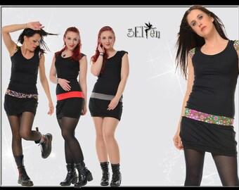 3Elfen black summer dress with collar