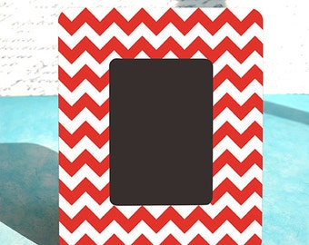 Twin Peaks Picture Frame, Candy Cane Chevron Custom Picture Frame, Chevron Wood Frame