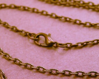 Flat Embossed Antiqued Brass Cable Chain Vintage Style you choose length