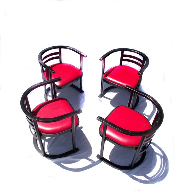 Retro dining room chairs 4 vintage 70s chairs wood n vinyl for Vintage 70s chair