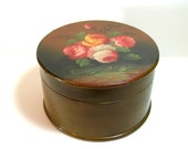 Hand Painted Round Floral Box