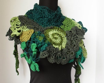 Free Spirit Springs Eternal Gypsy Shawl scarf wrap caplet Free form Crochet Hand knit Leaves Woodland Fairy Fae fiber art Ready to Ship