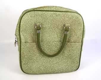 Vintage 1960s Green and White Lady Baltimore Overnight Vinyl Bag