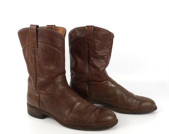 Brown Cowboy Boots Vintage 1980s J Chisholm Roper Distressed men's size 10