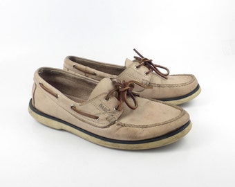 Bass Boat Shoes Vintage 1990s Light Tan Leather Lace up Distressed men's size