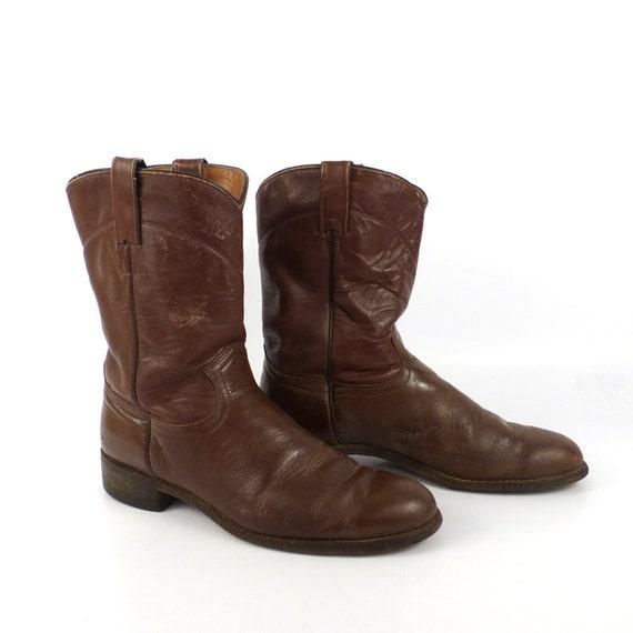 brown cowboy boots vintage 1980s j chisholm roper distressed