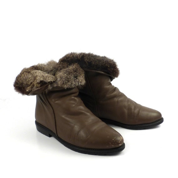 ankle boots vintage 1980s flat brown fur by