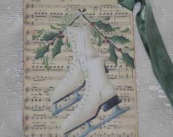 Christmas Tags,  Vintage Ice Skates Tags, Jingle Bells Music Sheet, Christmas Tags, Winter Ice Skates, Holiday Tags