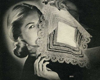 Vintage Tatting PATTERN Handkerchief 1940s WWII era  PDF instant Download 3111