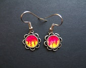 AMBROSIA AFFORDABLES 13 x13 mm Earrings Hot Pink Red Yellow