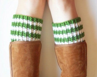 Green and White Striped Chunky Boot Cuffs, vegan, MADE TO ORDER.