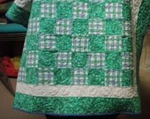 Periwinkle Blue and Green Baby Quilt Handmade