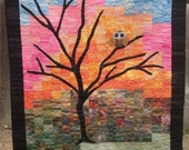 Whimsical Owl at Dawn Patchwork Quilted Wall Hanging