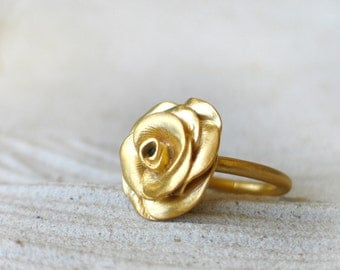 Rose Gold Ring, Gold plated on Brass