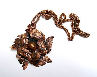Vintage Midcentury BELL Copper Double Leaf Pendant Necklace