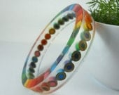 Resin Bracelet, Bangle Bracelet, Resin Jewelry, Colored Pencil, Teacher Gift, Upcycled, Rainbow, Multi Color