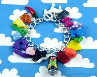 Junk Bracelet  - Rainbow Gumball Charm Bracelet OOAK