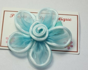 "CLOSEOUT- 2.5""  Aqua Blue Sheer Flower Clip-Toddler Hair Clip-Alligator Clip"