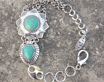 Unique 1980s Dual Round and Tear Drop Turquoise Designer Bracelet