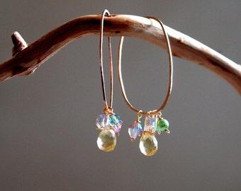 Big oval hoop earrings with citrus lime and kiwi detacheable dangles