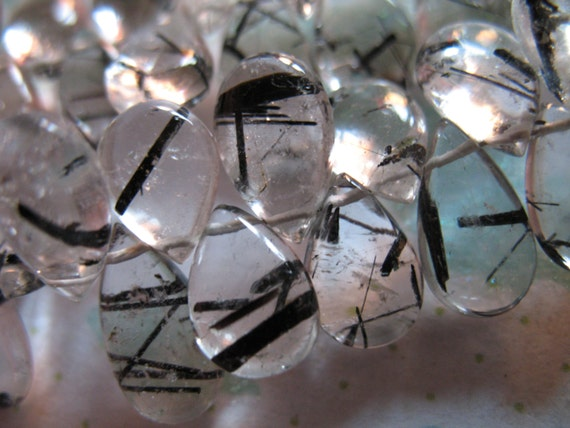 Shop Sale.. TOURMALINATED QUARTZ Pear Briolettes, Luxe AAA, 10 pcs, 8-10 mm, Smooth, tons black rutiles, wholesale beads.,