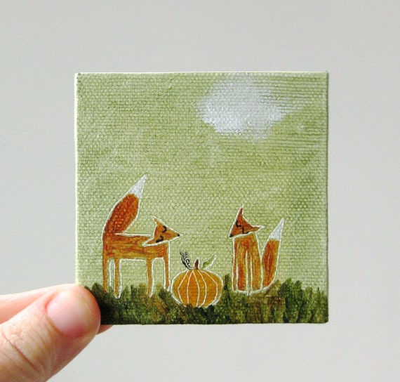 pumpkin time / original painting on canvas