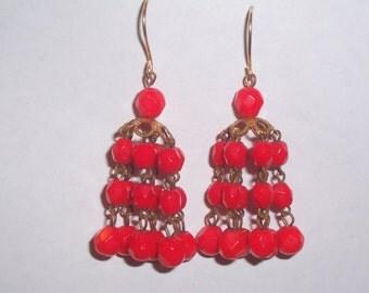 Handmade Upcycled  1950s Red Glass Bead Earrings - Pierced