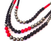 Funky Hot Pink, Black and Silver Vintage Bead Necklace