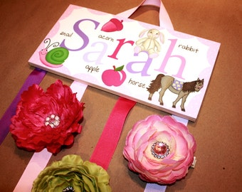 HAIR BOW HOLDER - Personalized Girls Alphabet HairBow Clip Holder - Bows and Clippies Organizer BH001