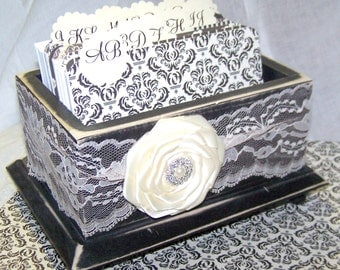 GUEST Book Box, Dividers, Cards, Advice Box, Black and Ivory Wedding, Lace, Distressed Black Box, Ivory Lace, Custom colors