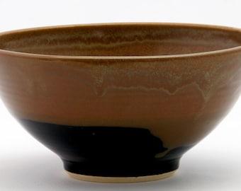 Brown Black Serving Bowl Medium - Evening Firelight Glaze Combo