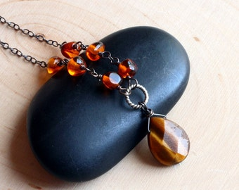 Tiger Eye Necklace with Amber on Oxidized Sterling Silver - Tawny by CircesHouse on Etsy