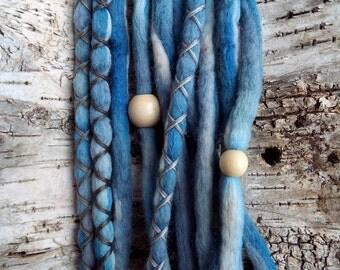 10 Tide Tie-Dye Wool Synthetic Dreadlock *Clip-in Extensions Boho Dreads Hair Wraps & Beads Custom