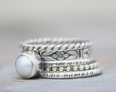 Pearl Stacking Rings - Sterling Silver Rings - Set of five Stacking Rings - Handmade Jewelery