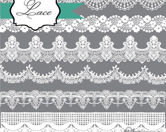 Instant Download - Lace in Black and White: Digital Clipart Set