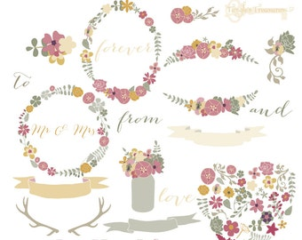 Instant Download - Mod Flowers in Muted Purples: Digital Clipart Set
